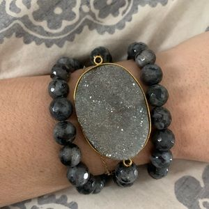 Accessories - M Gems DARK GREY AGATE STACK W/ LAPIS PAVE PENANT